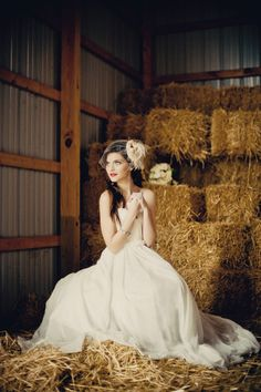 vintage rustic wedding gown and hairpiece