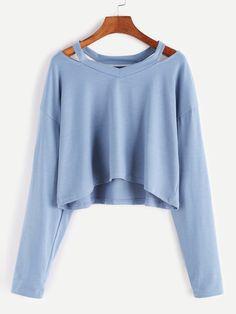 Blue Cut Out Neck Crop T-shirt — 0.00 € -------------------------color: Blue size: one-size