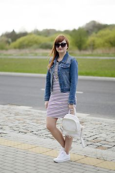 stripes dress jeans jacket white backpack classic white Reebok sneakers