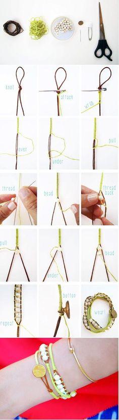 diy : beaded wrap bracelet