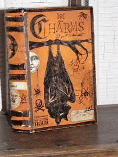 FOR MEGAN: Vintage Paper Mache Halloween Witch's Book by JanieDMattern. by joanne