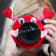 Camera lens buddy. Crochet camera critter by KikisKreationsprops