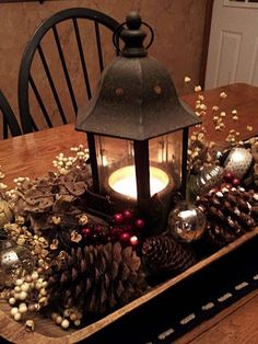 Lighted Pine Cone Centerpiece