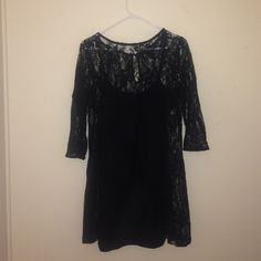 Black lace sundress Black lace sundress, attached to black tight dress underneath Forever 21 Dresses Mini