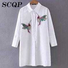 Bird Embroidery Cotton Striped Blouse Women Patchwork Sleeve White Shirt Woman Fashion Korean Style Ladies Long Blouse Summer