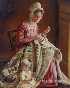 Hand quilting the quilt 바 Crazy Quilting, Hand Quilting, Arte Lds, Vintage Images, Vintage Pictures, Lds Art, Bonnie Wright, Sewing Art, Caricatures
