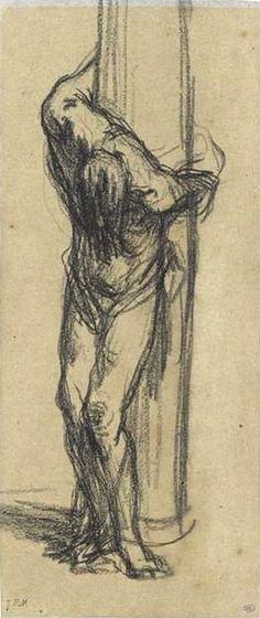 Жан-Франсуа Милле (1814 - 1875). Христос у колонны.  Графит, 23 х 13.5 см  Париж, Лувр