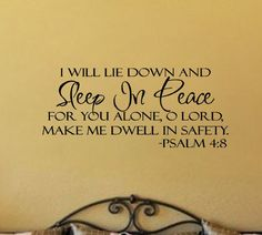 Sleep In Peace Bible Verse Safety PSALM Art Vnyl Wall Sticker Decal Quote Decor for sale online Bible Quotes About Peace, Peace Bible Verse, Bible Verse Decor, Bible Verses, Psalm 4 8, Psalms, Vinyl Wall Decals, Wall Sticker, Sleep