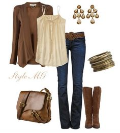The Trendy Outfit Idea,tan cardigan and knee-length boots
