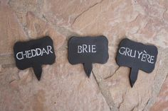 Black Clay Cheese Markers set of 3 ceramic by ManuelaMarinoCeramic