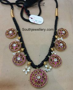 Black Thread Sets with Antique Pendants Gold Temple Jewellery, Real Gold Jewelry, Gold Jewellery Design, Simple Jewelry, Indian Jewelry, Diamond Jewellery, Silver Jewellery, Jewlery, Bridal Jewelry