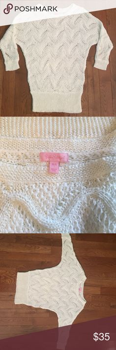 "Lily Pulitzer ""Larissa"" Dolman crochet sweater Gorgeous! Lightweight crochet. No stains. Size XS/S   Length 29"" Sweaters"