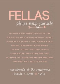 Bathroom Basket Sign Wedding Guest Restroom Las Fellas Digital File