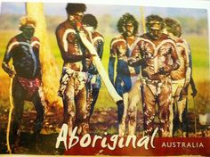 Aboriginal men of Australia's Top End taking part in a ceremony which is occupanied by the haunting music of the didgeridoo, a deep-toned instrument made from a branch hollowed out by termites, and rhythm sticks. Sent by a Postcrosser in Australia. (Postcrossing AU-175747)