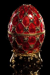 Faberge Imperial Egg in red and gold on black background Objets Antiques, Fabrege Eggs, Egg Art, Russian Art, Egg Decorating, Oeuvre D'art, Precious Metals, Easter Eggs, Jewelry Displays