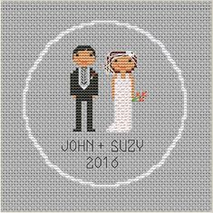 Bride and Groom. Groom and Bride. Custom Cross Stitch Pattern. Customizable. Personalized.