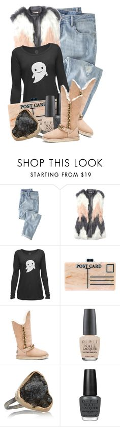 """""""That One Item: Happy Halloween Ghost (White) Womens Long-Sleeve Scoop Top"""" by queenrachietemplateaddict ❤ liked on Polyvore featuring Wrap, Rebecca Taylor, Edie Parker, Australia Luxe Collective, OPI and Melissa Joy Manning"""