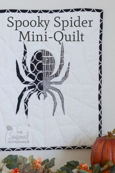Super fun and easy Halloween Craft. The Spooky Spider Mini-Quilt is a fun way to decorate for Halloween. The quilt is fast and can be made in an afternoon.