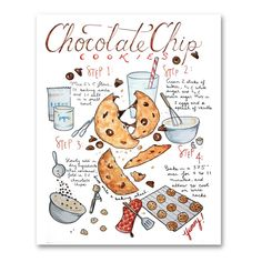 An homage to the history of Whitman! Chocolate Sticks, Homemade Chocolate Chip Cookies, Melted Chocolate, Cookie Drawing, Food Drawing, Recipe Drawing, Cookie Bakery, Watercolor Food, Food Journal