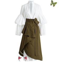 Women's Top and Skirt 2pcs/set V-neck Puff Sleeve Big Size Long High Waist Lace Up Ruched Irregular Women's Top and Skirt 2pcs/set V-neck Puff Sleeve Big Size Long High Waist Lace Up Ruched Irregular<br> Veronique Branquinho, Suits For Women, Clothes For Women, Mode Abaya, Big Size Dress, Plus Size Cocktail Dresses, Mode Style, Skirt Outfits, Ladies Dress Design