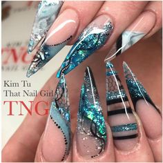 Pin by My info on naild Sexy Nails, Dope Nails, Fancy Nails, Bling Nails, Stiletto Nails, Blue Nail Designs, Beautiful Nail Designs, Blue Design, French Nails Glitter