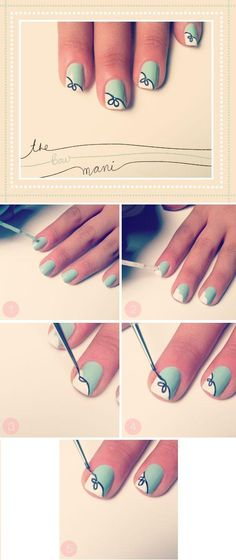 Looking for cool nail art ideas and nail designs you can do at home? Nail polish painting tutorials and at home manicure tips for easy, pretty DIY nails. Nail Art Designs, Short Nail Designs, Simple Nail Designs, Nails Design, Bow Design, Easy Designs, Diva Design, Ribbon Design, Floral Design