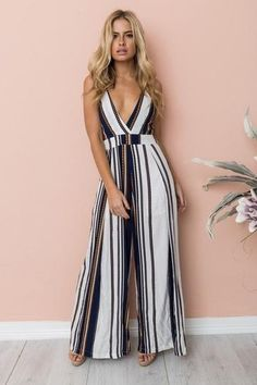 8d0ff9481f 2018 Fashion Women Jumpsuit Sleeveless Striped Jumpsuit Summer Romper Wide  Leg Trousers Womens V-neck Casual Clubwear Outfits