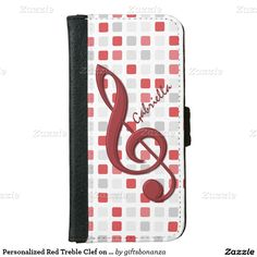 Personalized Red Treble Clef on Red Gray Mosaic iPhone 6 Wallet Case