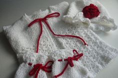 Crocheted Baby Girl Christmas Cardigan Hat and by fashionablekids, $55.00