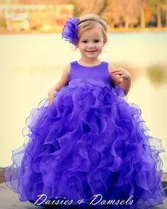 Flower girls dress purple cascading ruffles by DaisiesandDamsels, $247.24