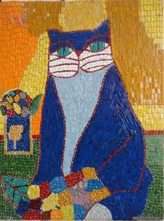 ALDEMIR MARTINS - Gato, Mosaico, 80x60cm, década 2000, produzido por Algacyr da Rocha Ferreira. Com