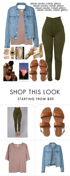 """Golden Mindset // 9:52 pm"" by peaches-n-kream ❤ liked on Polyvore featuring Aéropostale, Acne Studios, Casio and Rock Rebel"