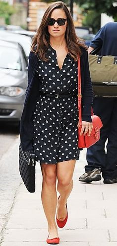 Pippa Middleton was spotted in London working a fashion statement of a swan-print Zara dress (79.90 at Zara.com), which she punched up with a cherry Prada bag and matching ballet flats.