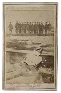 """1861-65, """"The Deserters Fate"""", [Civil War-era carte de visite portrait of a Union soldier, killed for desertion, with a firing squad looming behind"""