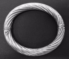 """925 STERLING SILVER OVAL BANGLE 7.5"""" BRACELET .37"""" WIDE 27.3g MADE IN ITALY   #Bangle"""
