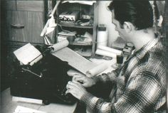 Photographer Fred DeWitt, on assignment for Time magazine, took several pictures of Kerouac in January 1958, while he was transferring the text from the original scroll to a standard form.