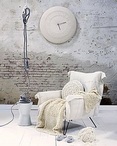 the white brick wall / an arm chair wonderful knitted pillow and blanket / scandinavian style / clock / lighting / living room or bedroom Look Wallpaper, Brick Wallpaper, White Brick Walls, White Floorboards, Fade Color, Shades Of White, My New Room, My Dream Home, Home And Living
