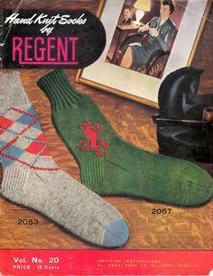 Hand Knit Socks by Regent Crochet Vintage, Vintage Knitting, Vintage Sewing, Quick Crochet Patterns, Sewing Patterns Free, Knitting Patterns, Wool Socks, Knitting Socks, Hand Knitting