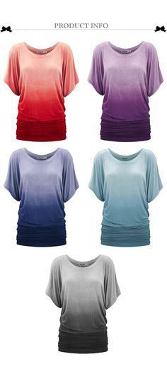 Women's Dip-Dye Ombre Short Sleeve Tunic Top