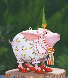 Patience Brewster Krinkles 0830957 Mini Nanette Pig Ornament 2014