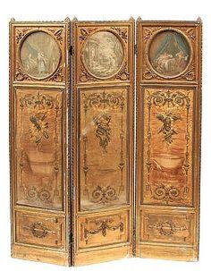 A Louis XVI style giltwood three fold floor screen