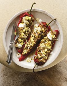 Gevulde puntpaprika- gehakt - feta- aubergine