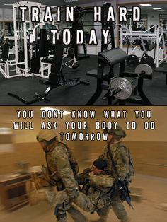 """US Military Fitness and Training motivation poster """"Train Hard Today"""" Military Quotes, Military Humor, Military Love, Military Motivation, Fit Girl Motivation, Fitness Motivation, Fitness Tips, Military Workout, Military Training"""