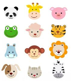 Comic Tiere Kopf Gesichter, 300 dpi EPS P - Caras de animales - Cartoon Jungle Animals, Baby Animals, Cute Animals, Cartoon Faces, Cartoon Dog, Zebra Cartoon, Sheep Cartoon, Cartoon Drawings, Cartoon Characters