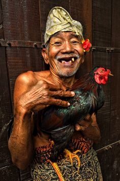 Old Man & his Fighting Cock - Bali