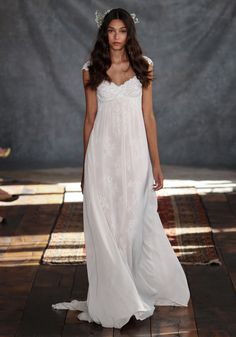 Phaedra Lace Chiffon Wedding Dress Romantique by Claire Pettibone runway