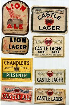 Old beer labels from South Africa. - Science and Nature South Africa Safari, Beer Label Design, Book Labels, Out Of Africa, African Safari, African History, Beer Lovers, Science And Nature, Beer