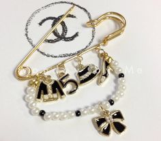 CC charm Brooch Black Chanel inspired by Mondaybyme on Etsy, $9.99