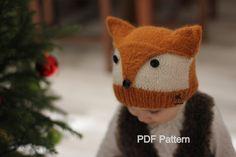 """Patron tricot bonnet """"Foxy & Wolfie"""" (tailles: Tout Petit, Enfant, Adulte)"""