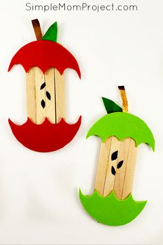 Looking for a fun, DiY Fall or Halloween party decoration for kids to make? Click now for a cheap, popsicle stick apple craft tutorial. Popsicle Stick Crafts, Popsicle Sticks, Craft Stick Crafts, Preschool Crafts, Diy And Crafts, Kids Crafts, Plate Crafts, Craft Ideas, Halloween Crafts For Toddlers